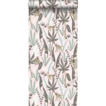 papier peint singes de la jungle rose clair et vert menthe de ESTA home
