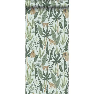papier peint singes de la jungle vert menthe et vert foncé de ESTA home