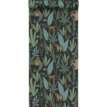 papier peint singes de la jungle noir, vert foncé et vert menthe de ESTA home