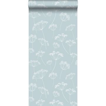 papier peint ombelles bleu clair et blanc de ESTA home