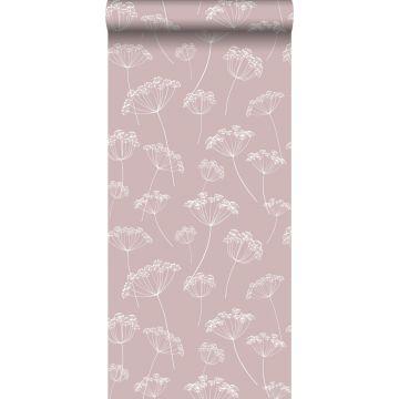 papier peint ombelles vieux rose et blanc de ESTA home