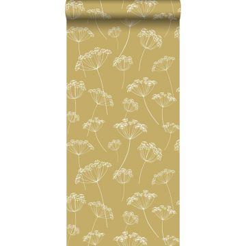 papier peint ombelles jaune ocre et blanc de ESTA home
