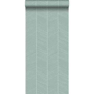papier peint chevron vert menthe grisé de ESTA home