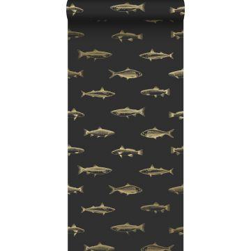 papier peint poissons noir et or de ESTA home