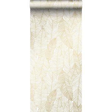 papier peint feuilles dessinées blanc et or de ESTA home