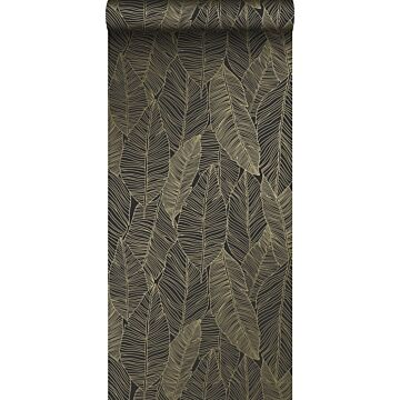 papier peint feuilles dessinées noir et or de ESTA home