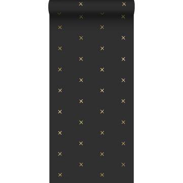 papier peint motif graphique noir et or de ESTA home