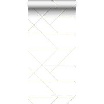 papier peint lignes graphiques blanc et or de ESTA home