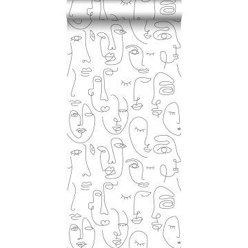 papier peint visages noir et blanc de ESTA home