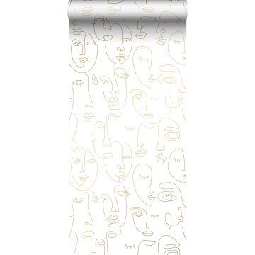 papier peint visages blanc et or brillant de ESTA home