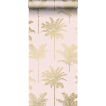 papier peint palmiers rose clair et or de ESTA home