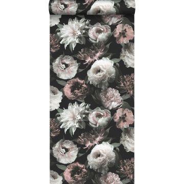 papier peint fleurs noir, blanc et rose clair de ESTA home