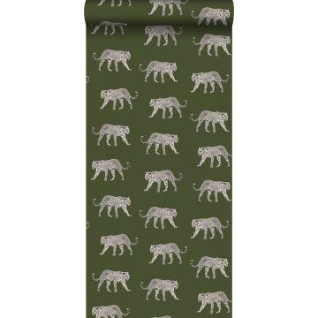 papier peint léopards vert olive grisé de ESTA home