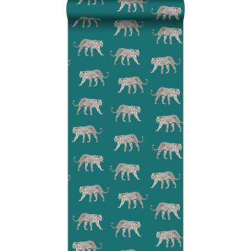 papier peint léopards bleu canard de ESTA home