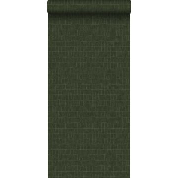 papier peint peau de crocodile vert olive grisé de ESTA home