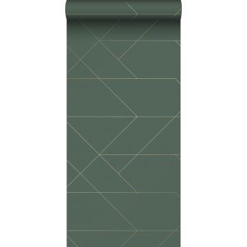 papier peint lignes graphiques vert foncé et or de ESTA home