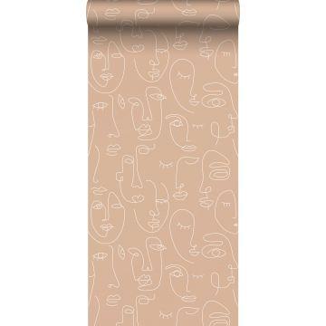 papier peint visages rose pêche et blanc de ESTA home