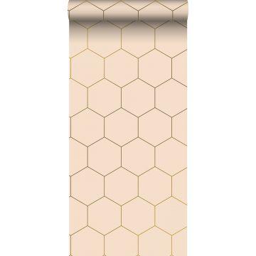 papier peint hexagone rose pêche clair de ESTA home