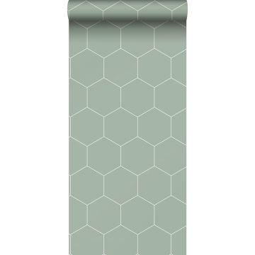 papier peint hexagone vert grisé et blanc de ESTA home