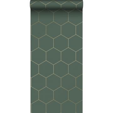 papier peint hexagone vert foncé et or de ESTA home