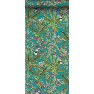 papier peint feuilles de la jungle tropicale et oiseaux de paradis bleu canard et vert jungle de ESTA home