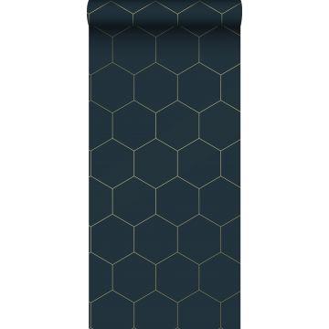 papier peint hexagone bleu foncé et or de ESTA home