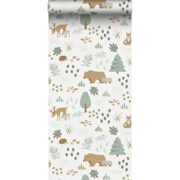 papier peint forêt avec des animaux de la forêt blanc, vert et beige de ESTA home