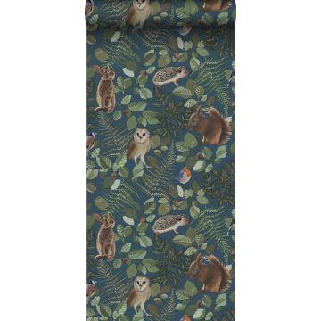 papier peint animaux de la forêt bleu foncé, vert et marron de ESTA home