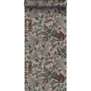 papier peint animaux de la forêt vieux rose, vert et marron de ESTA home