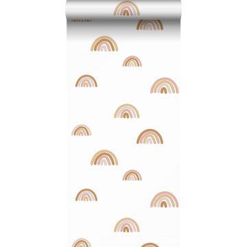 papier peint arcs en ciel terracotta, rose clair et beige de ESTA home