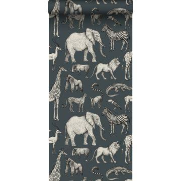 papier peint animaux de la jungle bleu gris et gris de ESTA home
