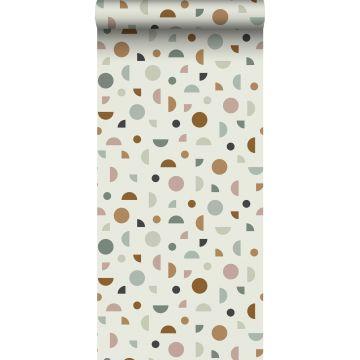papier peint motif graphique beige clair, vieux rose et vert menthe de ESTA home