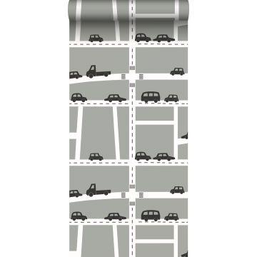 papier peint voitures gris, noir et blanc de ESTA home