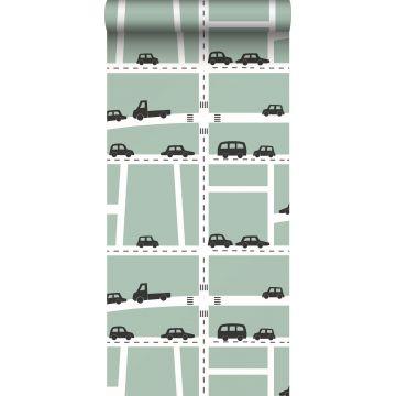 papier peint voitures vert menthe, noir et blanc de ESTA home