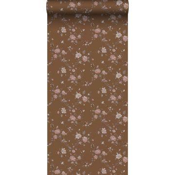 papier peint fleurs brun rouille et rose de ESTA home