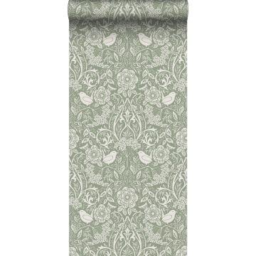papier peint fleurs et oiseaux vert grisé de ESTA home