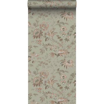 papier peint fleurs vintage vert menthe grisé et rose clair de ESTA home