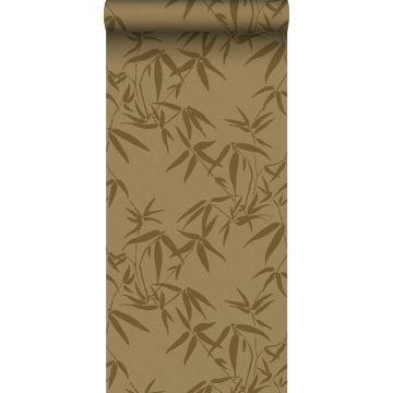 papier peint feuilles de bambou jaune ocre de ESTA home