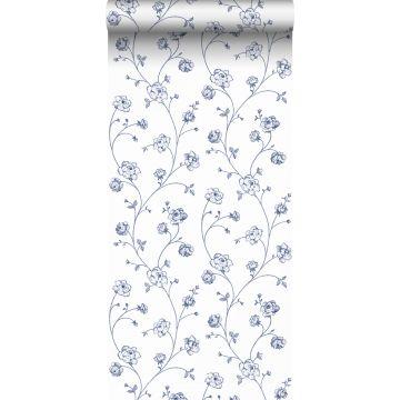 papier peint roses en Toile de Jouy blanc et bleu de ESTA home