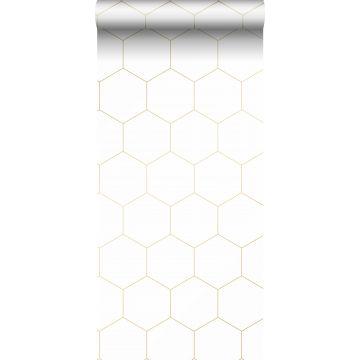 papier peint hexagone blanc et or de ESTA home