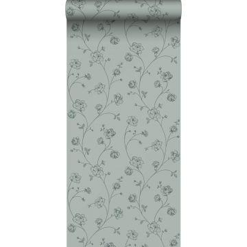 papier peint roses en Toile de Jouy vert grisé de ESTA home