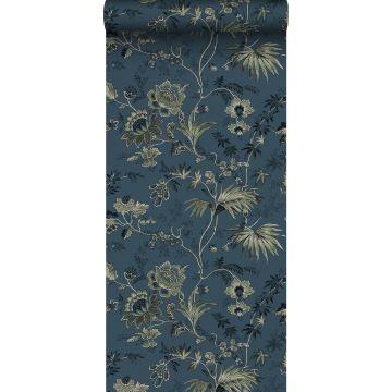 papier peint fleurs vintage bleu foncé et vert olive grisé de ESTA home