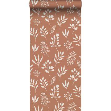 papier peint fleurs au style scandinave terracotta et blanc de ESTA home