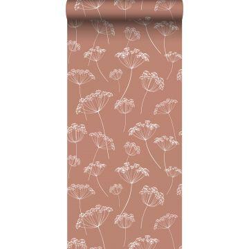 papier peint ombelles terracotta et blanc de ESTA home