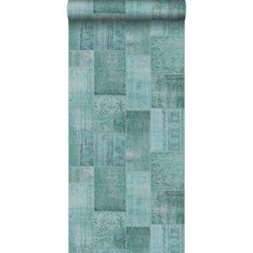 papier peint motif kilim vert aqua de ESTA home