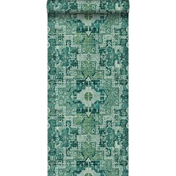 papier peint tapis patchwork kilim oriental vert émeraude intense de ESTA home