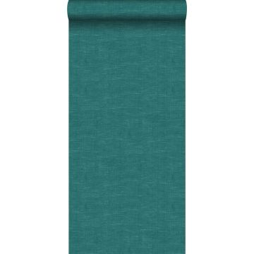 papier peint lin bleu canard de ESTA home