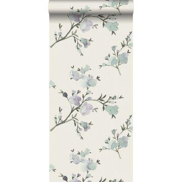 PP intissé éco texture fleurs de cerisier beige et violet de ESTA home