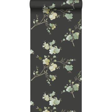 PP intissé éco texture fleurs de cerisier vert, jaune ocre et noir de ESTA home