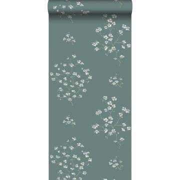 papier peint branches de fleurs vert pétrole de ESTA home